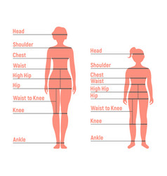 Woman and girl size chart human front side vector