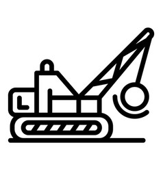 Wrecker excavator icon outline style vector