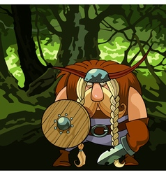 cartoon funny Viking man in armor in the forest vector image vector image