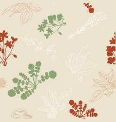 seamless pattern with silhouettes of flowers and vector image vector image