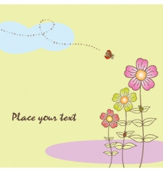 springtime flora card with ladybird vector image vector image