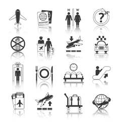 Airport icons black and white set vector image vector image