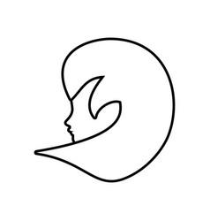 Profile woman romantic image outline vector