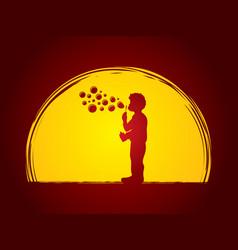 a little boy blowing soap bubbles vector image
