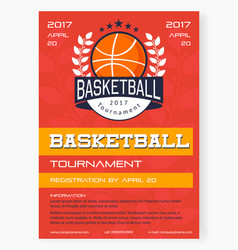basketball tournament poster vector image vector image