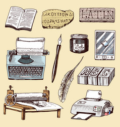 book-printing typography publishing-house history vector image