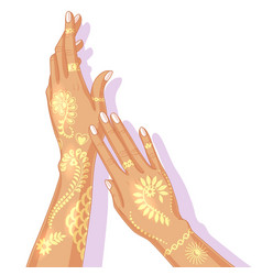 hands with temporary golden tattoo vector image vector image