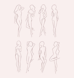 set of various nude woman silhouette beautiful vector image vector image