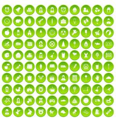 100 child center icons set green circle vector