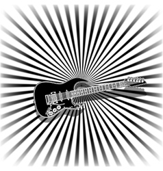 black and white music background with a guitar vector image vector image