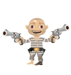 Escaped convict cartoon character of Wild West vector image vector image