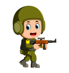 a brave soldier with a gun vector image