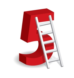 A Ladder With The Number Five vector