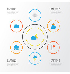 Air flat icons set collection of crescent cloud vector
