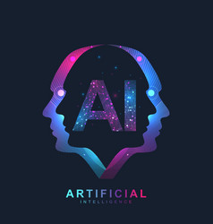 Artificial intelligence logo plexus effect vector