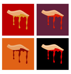 assembly flat icons halloween zombie hand vector image