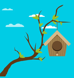bird house hanging of a branch flat design style vector image
