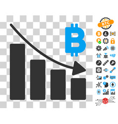 Bitcoin recession bar chart icon with bonus vector