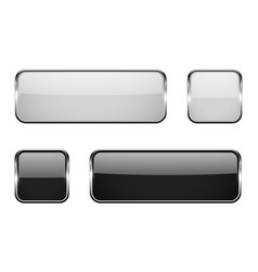 Black and white square glass buttons with metal vector
