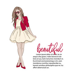 blonde girl model wearing cute dress high heels vector image