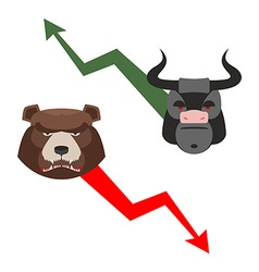Bull and bear Traders allegory Green up vector