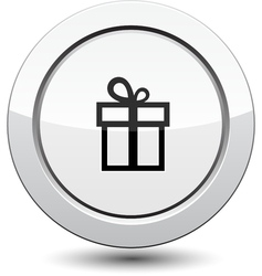 Button with gift vector image vector image