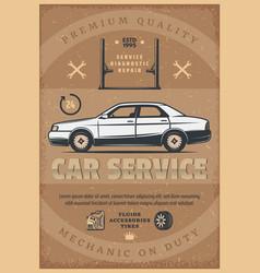 car mechanic service retro poster vector image