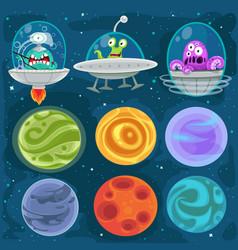Cartoon aliens in spaceships set vector