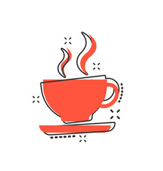 cartoon coffee cup icon in comic style tea mug vector image