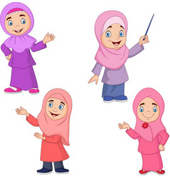Cartoon muslim girl collection set vector