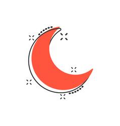 Cartoon nighttime moon and stars icon in comic vector