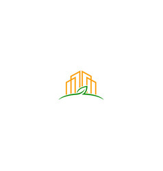 City building green leaf clean environment logo vector