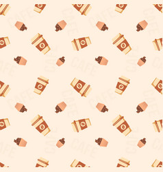 coffee to go cups and cupcakes seamless pattern vector image