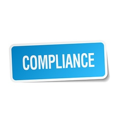 Compliance blue square sticker isolated on white vector