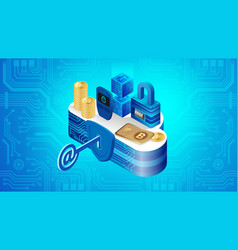 concept of cloud financial system security vector image