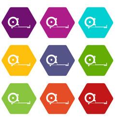 construction roulette icon set color hexahedron vector image