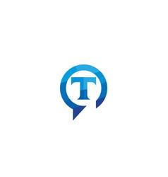 creative t letter talk bubble logo design symbol vector image