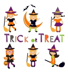 Cute collection of little Halloween witches vector image
