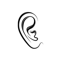 Ear engraving icon human ear isolated over white vector
