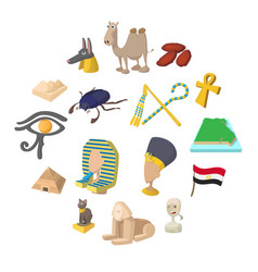 egypt icons cartoon vector image