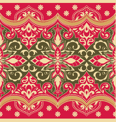 ethnic seamless pattern with floral ornament vector image