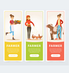 farmers with farm vegetables and rural cow and vector image