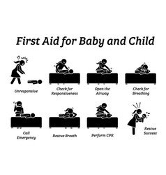 First aid rescue emergency treatment for baby vector