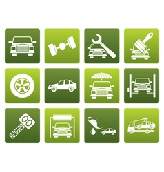 Flat auto service and transportation icons vector