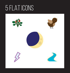 Flat icon natural set of half moon lightning vector