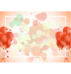 Frame template design with orange balloons vector