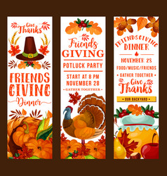 Friendsgiving thanksgiving holiday potluck party vector