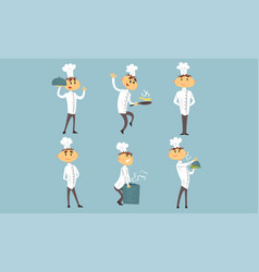 funny cartoon male chef characters set vector image