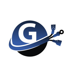 Global electricity letter g vector