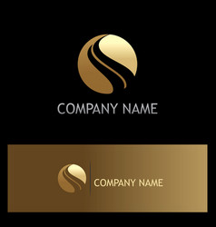 gold round wave company logo vector image
